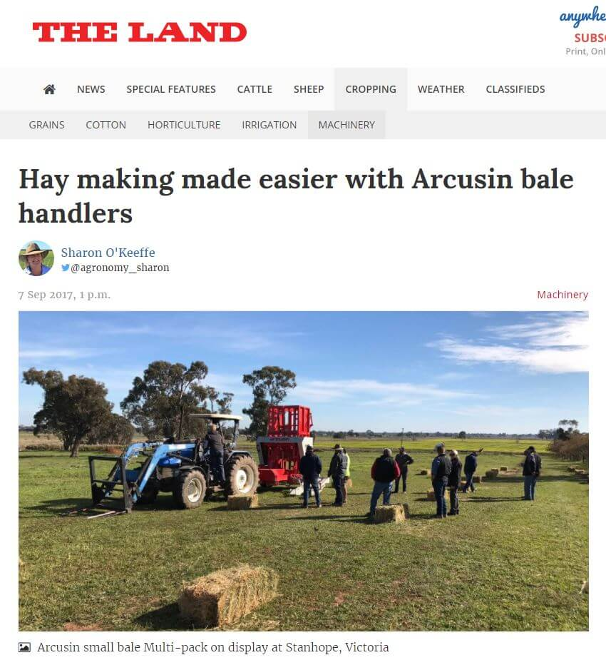 ARCUSIN AUSTRALIA BALE CHASER DEMONSTRATIONS STACKER